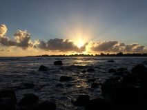 Sunrise above Hilo Bay in Hilo, Hawaii. Stock Images