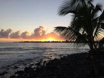 Sunrise above Hilo Bay in Hilo, Hawaii. Royalty Free Stock Image