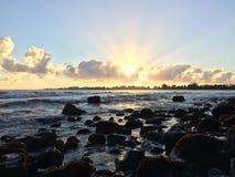 Sunrise above Hilo Bay in Hilo, Hawaii. Stock Image