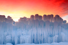 Sunrise above the ice castle. Stock Images