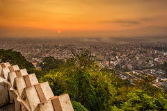 Sunrise above Kathmandu, Nepal, viewed from the Swayambhunath te Royalty Free Stock Photo
