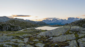Sunrise above Laghi di Cornisello. Royalty Free Stock Images