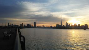 Sunrise above Manhattan, New York, NY Seen from Liberty State Park in Jersey City, NJ. Stock Image