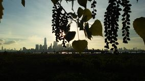 Sunrise above Manhattan, New York, NY Seen from Liberty State Park in Jersey City, NJ. Royalty Free Stock Photography