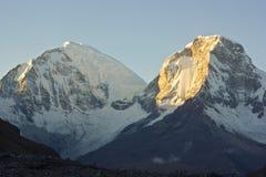 Sunrise above mountain Huascaran in Peru Royalty Free Stock Image