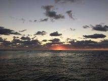 Sunrise above Pacific Ocean - View from Kapaa Beach Park on Kauai Island, Hawaii. Royalty Free Stock Photo