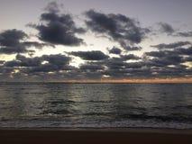 Sunrise above Pacific Ocean - View from Kapaa Beach Park on Kauai Island, Hawaii. Stock Image