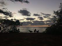Sunrise above Pacific Ocean - View from Kapaa Beach Park on Kauai Island, Hawaii. Stock Photography