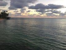 Sunrise above Pacific Ocean - View from Kapaa Beach Park on Kauai Island, Hawaii. Stock Photos