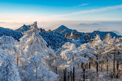 Sunrise above the peaks of Huangshan National park. Royalty Free Stock Image
