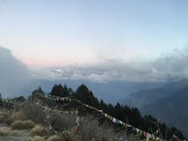 Sunrise above Poon Hill at Annapurna Circuit in Himalayan Mountains, Nepal. stock image
