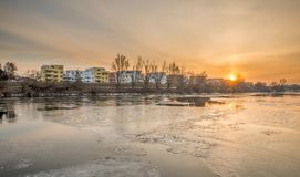 Sunrise above Reinhausen in the Winter - Regensburg, Germany, Royalty Free Stock Photography