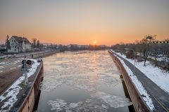 Sunrise above Reinhausen in the Winter - Regensburg, Germany, Royalty Free Stock Images