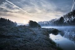 Sunrise above river Luznice Stock Photography