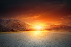 Sunrise above road Royalty Free Stock Photography