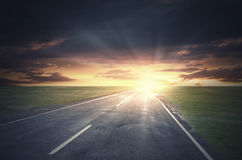 Sunrise above road Royalty Free Stock Images
