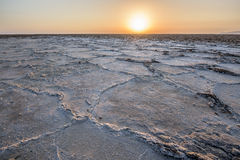 Sunrise above a salt lake in Ethiopia Stock Image