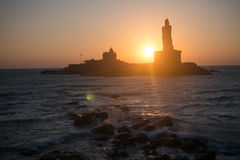 Sunrise above the sea Kanyakumari Comorin cape Stock Image
