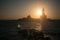 Sunrise above the sea Kanyakumari Comorin cape Royalty Free Stock Photo
