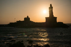 Sunrise above the sea Kanyakumari Comorin cape Stock Images
