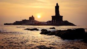 Sunrise above the sea silhouette of coast of India Kanyakumari Royalty Free Stock Photo