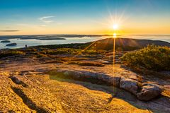 Sunrise in Acadia National Park royalty free stock photography