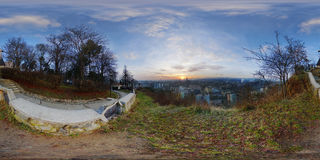 Sunrise from Acropolis Park (Parcul Cetățuia) in Cluj-Napoca, Romania. 360 panorama of a winter sunrise cityscape from Acropolis Park (Parcul Cetățuia) in Stock Images