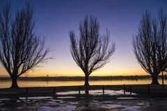 Sunrise across a lake. Early morning sunrise across lake through silhouetted trees Stock Photos