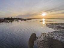 Sunrise aerial seascape view of Olhao Marina, waterfront to Ria Formosa natural park. Algarve. Portugal Stock Photography