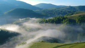 Sunrise aerial view in Apuseni Mountains