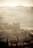 Sunrise aerial view of Porto historical district, Portugal Stock Photos