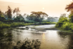 Sunrise over african River, Ishasha River Uganda