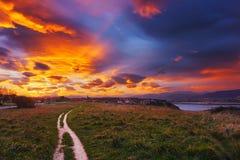 Sunrise in Aixerrota lands in Getxo Stock Photography