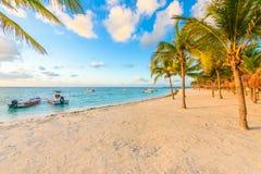 Sunrise at Akumal beach, paradise bay at Riviera Maya, caribbean royalty free stock photography
