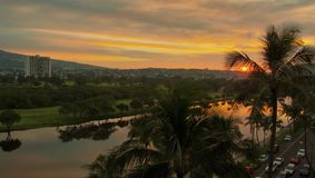 Sunrise on the Ala Wai Royalty Free Stock Image