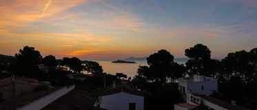 Sunrise in Alcudia on the island of Mallorca. Spain Royalty Free Stock Images