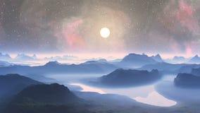 Sunrise on an alien planet stock video