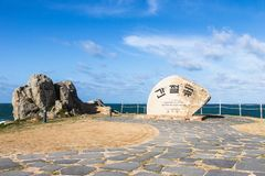 Main Memorial Stone Monument with korean letters of Cape Ganjeolgot. Easternmost Point of Peninsula in Ulsan, South Korea. Asia. The sunrise along the East Coast stock images