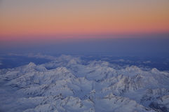 Winter dawn on the Alpine range under snow Stock Images