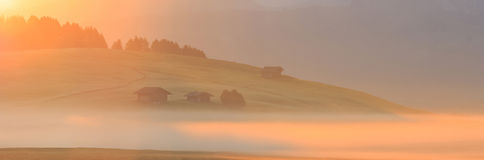 Sunrise in the Alps, Dolomites, Italy Royalty Free Stock Image