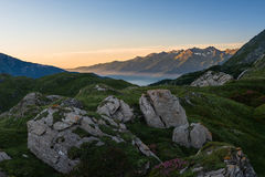 Sunrise on the Alps Stock Image