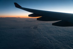 Sunrise at an altitude of 11 km. Royalty Free Stock Image