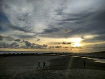 Sunrise at Amal Beach Tarakan City, Indonesia stock images