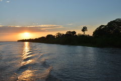 Sunrise on the Amazon river in the Brazilian Rainforest Stock Photography