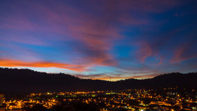 Sunrise from Ampang. The view of dramatic and fiery sunrise at  Ampang, Malaysia with silhouette of Ampang hills Stock Photos