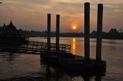 Sunrise at Amphawa,Samut Songkhram,Thailand. Royalty Free Stock Photos