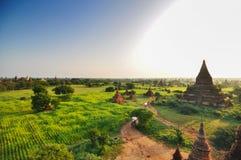 Sunrise at Ancient Temples, Bagan, Myanmar Royalty Free Stock Images