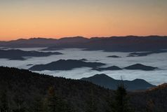 Sunrise And Fog In The Great Smoky Mountains National Park In Fall. Royalty Free Stock Photos