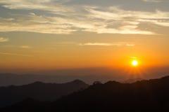 Sunrise And Silhouette Mountain At Thong Pha Phum