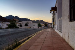 Sunrise in Andalusian village. Small village in the national park Cabo de Gata in Andalusia on a warm summer morning just before sunrise royalty free stock image